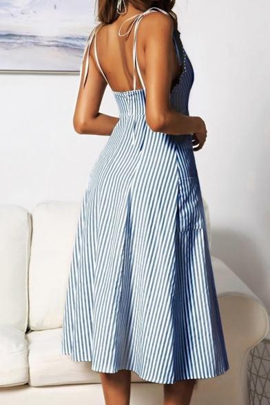 Women's Fashion Sexy Spaghetti Straps Bow Sleeveless Stripes Printed Button Detail Midi Slip Dress