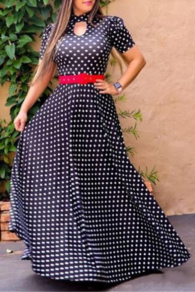 Women's Hot Fashion Halter Neck Short Sleeve Polka Dot Printed Belted Maxi A-Line Party Dress