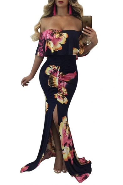 Women's Off The Shoulder Floral Printed Split Side Bodycon Length Floor Black Dress