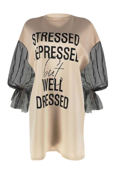 Women's Round Neck Long Sleeve Letter WELL DRESSED Mesh Patch Mini Apricot Dress