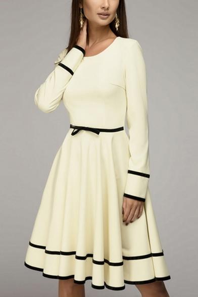 Women's Stylish Round Neck Long Sleeve Plain Fitted Midi Pleated Beige Dress