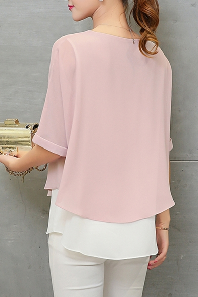 Women's Summer New Colorblock Plain Round Neck Short Sleeve Loose Fake Two-Piece Chiffon Blouse Top