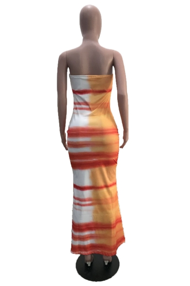Women's Trendy Off The Shoulder Splash-Ink Printed Bodycon Maxi Nightclub Orange Dress