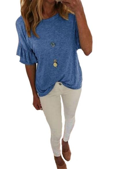 Womens Basic Simple Plain Ruffled Short Sleeve Round Neck Casual Loose Tee