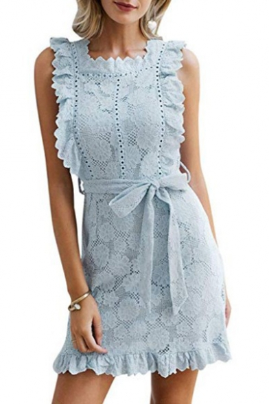 Womens Chic Simple Solid Color Ruffled Hem Sleeveless Tied Waist Mini Sheath Lace Dress