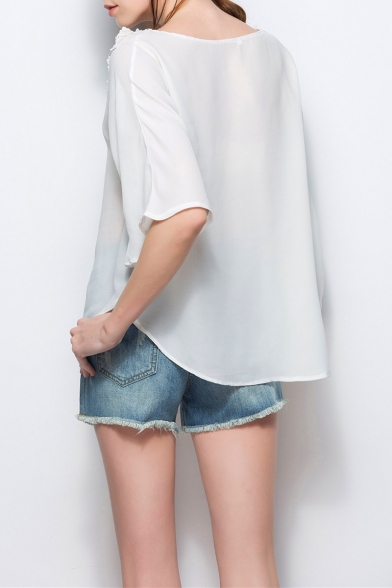 Womens Chic White Lace Patched Round Neck Casual Loose Plain Chiffon Top