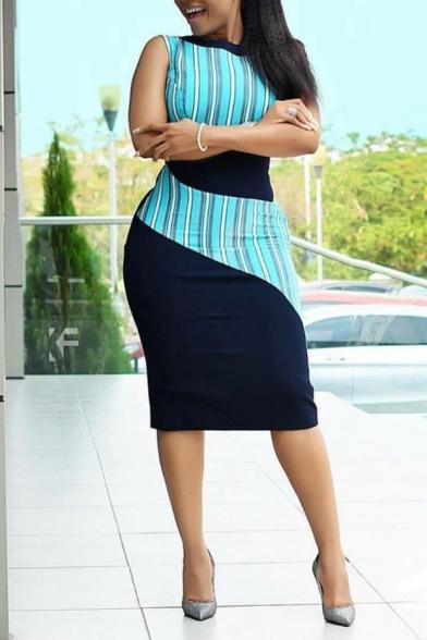 Womens Colorblock Stripe Patchwork Sleeveless Midi Bodycon Dress