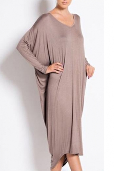 Womens New Trend Basic Simple Solid Color Long Sleeve V-Neck Casual Loose Maxi Slouchy Dress