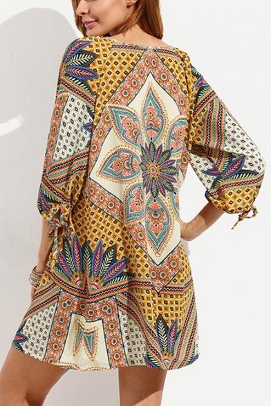 Womens Retro Tribal Printed Lace-Up V-Neck Three-Quarter Sleeve Mini Casual Shift Dress