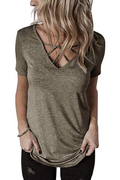 Womens Stylish Crisscross V-Neck Short Sleeve Simple Plain Casual Tee