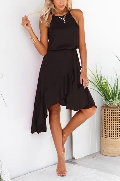 Womens Summer Halter Sleeveless Ruffle Asymmetric Hem Plain Midi Dress
