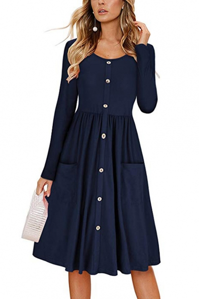 Basic Simple Round Neck Long Sleeve Button Front Midi A-Line Pleated Dress