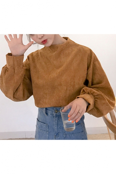 Camel Mock Neck Long Sleeve Corduroy Plain Pullover Sweatshirt