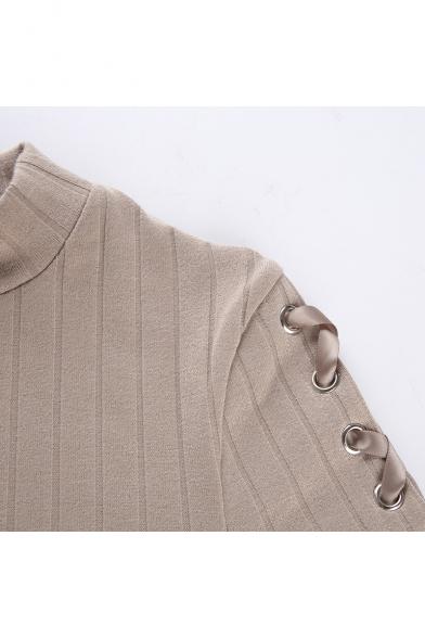 Chic Stylish Solid Color Eyelet Lace-Up Long Sleeve Khaki Bodycon Mini Dress