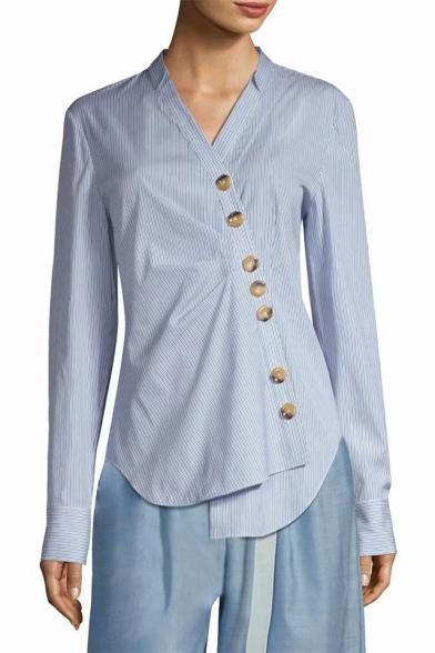 Classic Blue Pinstripe Print V-Neck Long Sleeve Irregular Button Down Fitted Shirt Blouse