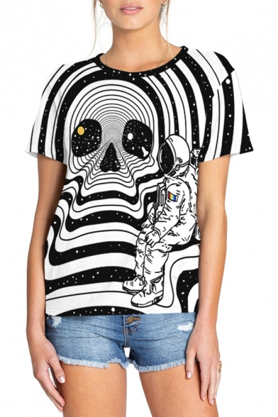 Cool 3D Striped Skull Astronaut Printed Round Neck Short Sleeve Black and White T-Shir
