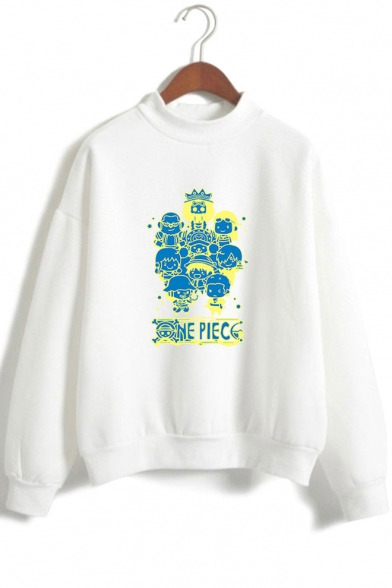 Cool Comic Figure Letter Graphic Printed Mock Neck Long Sleeve Pullover Sweatshirt