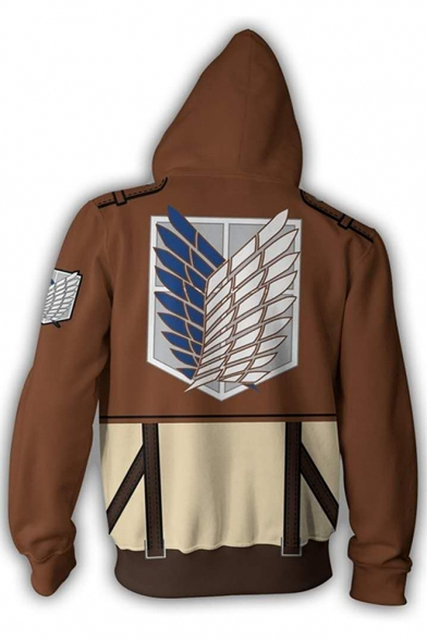 Cool Logo 3D Comic Cosplay Zipper Front Long Sleeve Khaki Hoodie with Two Pockets