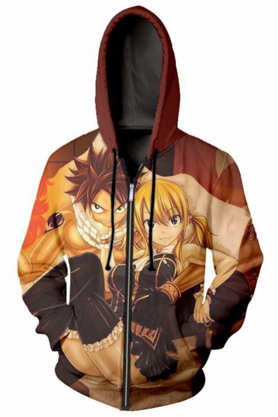 Fairy Tail Comic 3D Character Pattern Sport Loose Casual Zip Up Long Sleeve Orange Drawstring Hoodie