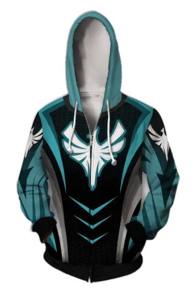 Fashion Blue 3D Comic Cosplay Costume Long Sleeve Loose Casual Zip Up Hoodie