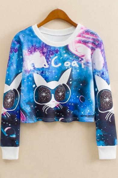 Fashion Galaxy Cartoon Cat with Glasses Round Neck Long Sleeve Blue Cropped Sweatshirt