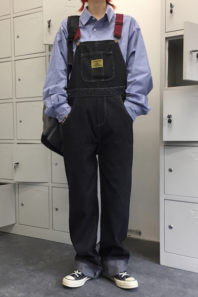 Fashion Vintage Dark Blue Rolled Cuff Wide-Leg Straight Fit Denim Bib Overalls