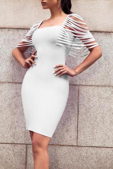Fashionable Simple Plain Square Neck Hollow Out Sleeve Midi Bodycon Pencil Dress