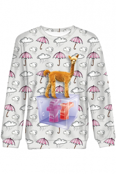 Funny Allover Umbrella Fluffy Horse Printed Crewneck Long Sleeve White Casual Sweatshirt