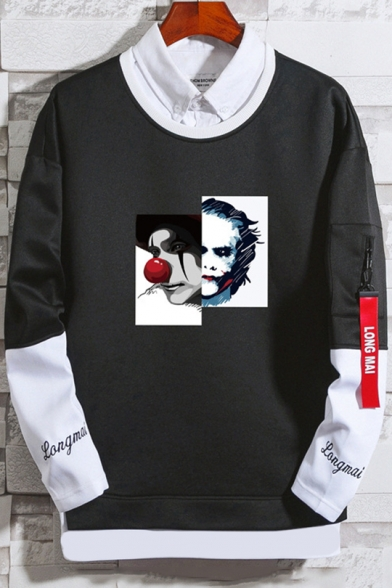 Guys New Fashion Clown Printed Patched Long Sleeve Round Neck Casual Loose Sweatshirt