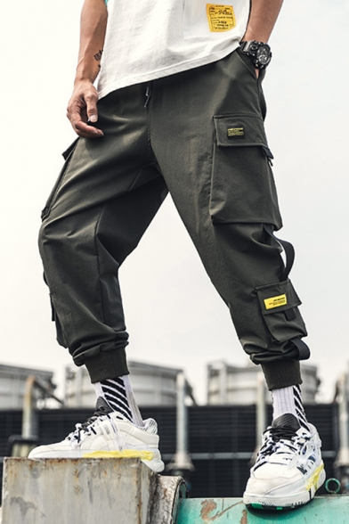 Guys Summer Cool Unique Ribbon Pocket Drawstring Waist Gathered Cuff Cargo Pants Trousers