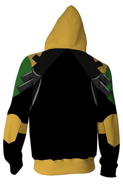 Hot Fashion Cosplay Costume 3D Printed Casual Unisex Zip Up Yellow Hoodie