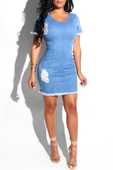 Hot Fashion Simple Plain Round Neck Short Sleeve Ripped Fringed Hem Denim Blue Mini Bodycon Dress