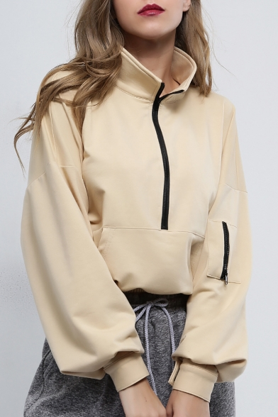 Khaki Simple Plain Half-Zip Stand Collar Long Sleeve Loose Fit Sweatshirt