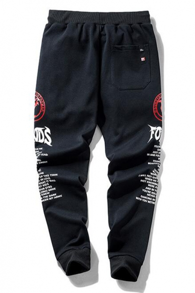 Mens Black Fashion Letter Printed Drawstring Waist Cotton Loose Jogger Pants Sweatpants