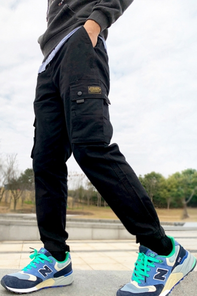 Mens New Fashion Flap Pocket Side Stylish Velcro Gathered Cuff Fitted Military Cargo Pants Trousers