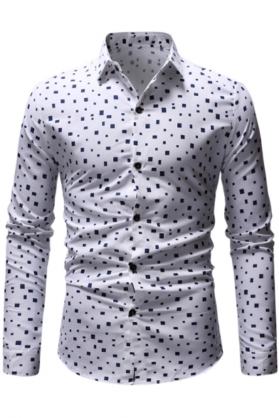 Best Dress Casual Men Button Down Shirt Regular Fit Spread Collar Plain Long Sleeve Shirt