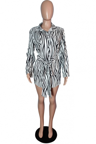 New Stylish Colorblock Stripe Zebra Print Lapel Long Sleeve Button Front Bow Tie Mini Shirt Dre