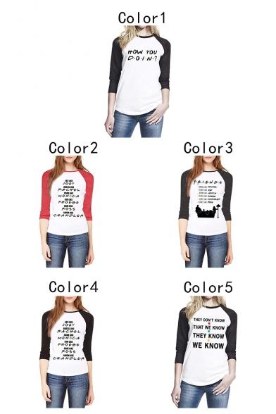 New Stylish Dot Letter HOW YOU DOIN Raglan Long Sleeve Casual Loose T-Shirt
