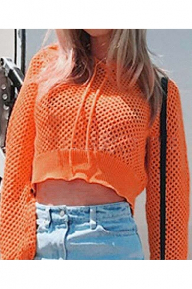 Orange Hollow Long Sleeve Plain Ruffle Hem Drawstring Cropped Hoodie