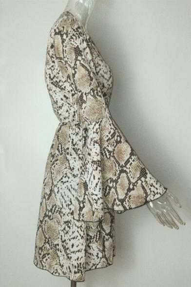 Popular Snakeskin Pattern V-Neck Bell Long Sleeve Mini Coffee A-Line Dress