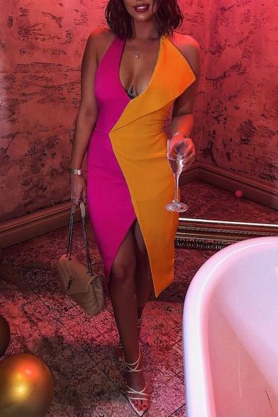 Sexy Colorblock Plunge Neck Patchwork Sleeveless Split Front Midi Bodycon Dress