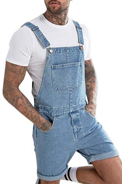 Summer Popular Vintage Washed Blue Mens Rolld Cuff Fitted Denim Overalls Shorts