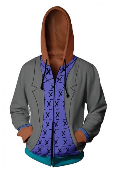 Trendy Comic Cosplay Costume Basic Long Sleeve Zip Up Sport Loose Grey Hoodie