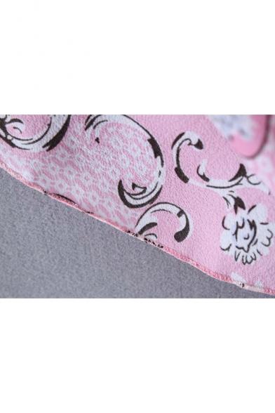Trendy Floral Printed V-Neck Short Sleeve Tied Hem Blouse Top