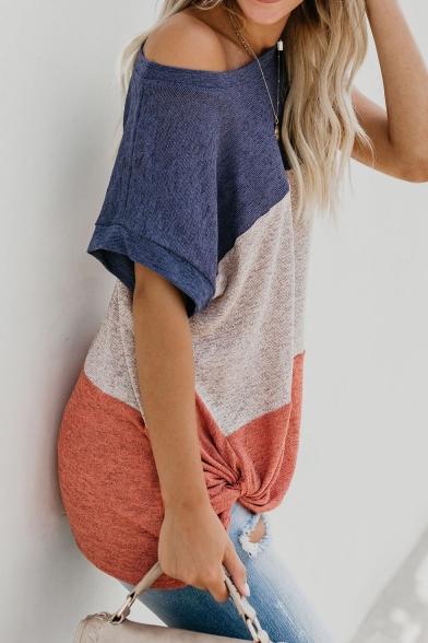 Trendy One Shoulder Color Block Short Sleeve Twist Hem Casual Loose T-Shirt