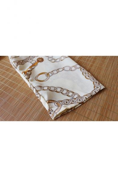 Unique Chain Pattern Long Sleeve Casual Loose Button Down Chiffon Shirt
