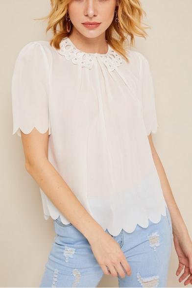 Unique Stylish Round Neck Short Sleeve Scalloped Hem White Loose Fit T-Shirt Top