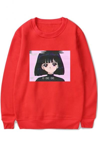 Vaporwave Cute Cartoon Comic Girl Pattern Round Neck Long Sleeve Pullover Sweatshirt