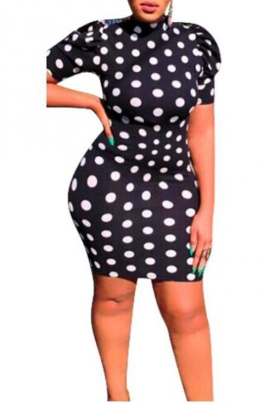 Women's Classic Polka Dot Printed Black Short Sleeve Open Back Bow Tie Mini Bodycon Dress