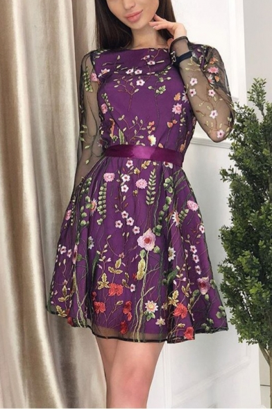 Women's Elegant Embroidered Floral Long Sleeve Round Neck Mesh Patch Mini Boho Dress